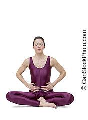 mujer, practicar, yoga