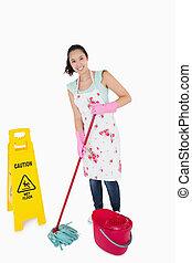mujer, precaución, limpieza, señal