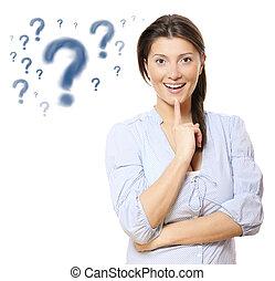 mujer, pregunta, joven, bastante, marcas