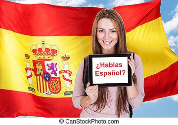 mujer, preguntar, haga, usted, hablar, español