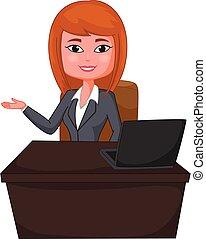 mujer, presentación, empresa / negocio