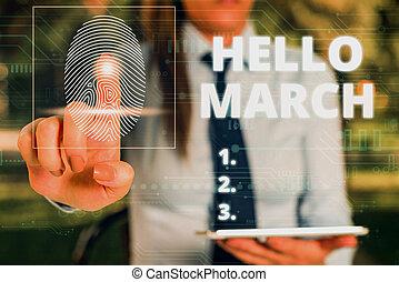 mujer, presentación, utilizar, composición, uso, march.,...