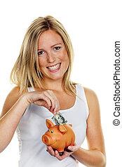mujer, preventivo, dinero, ahorra, dólar, joven, ahorros,...