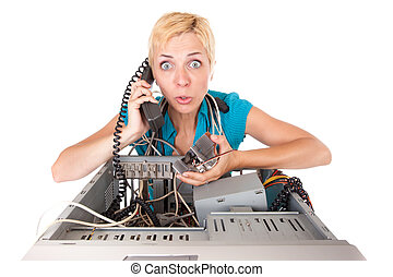 mujer, problemas de la computadora