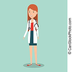 mujer, profesional, doctor, avatar