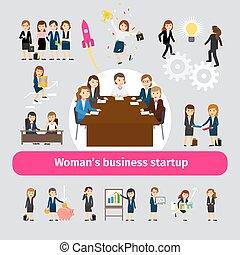 mujer profesional, establecimiento de una red del negocio