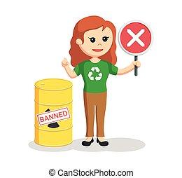 mujer, prohibido, ambiental, activista, desecho tóxico