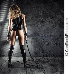 mujer, provocación, látigo, bdsm, sexy, sensual