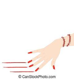 mujer, pulsera, mano, líneas, vector, rasguño, rojo rubí