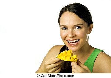 mujer que come, encima, joven, mango, blanco, feliz