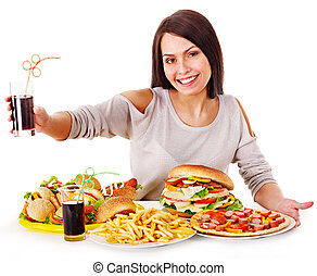 mujer que come, rápido, comida.