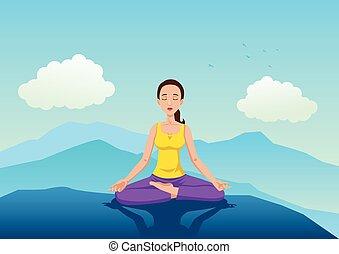 mujer que medita, en, el, montaña
