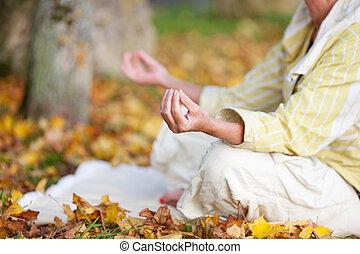 mujer que medita, en, posición lotus, en, parque