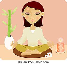 mujer que medita, joven, hermoso