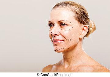 mujer que preparando, para, cirugía plástica
