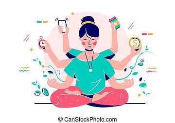 mujer que sonríe, dispositivo, joven, time., utilizar, multitarea, moderno