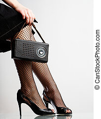 mujer, radio, retro, tenencia