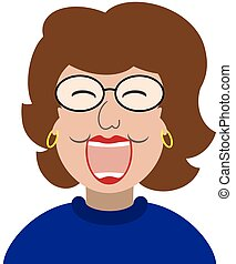 mujer, reír, caricatura