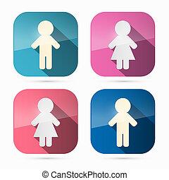 mujer, redondeado, iconos, símbolos, cuadrados, hombre