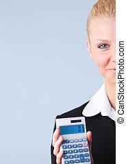 mujer, regresos, calculador, impuesto