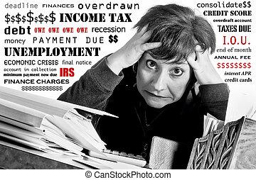 mujer, renta de impuesto, tiempo