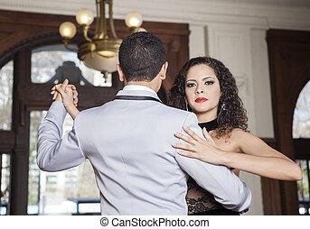 mujer, restaurante, amaestrado, tango, bastante, hombre