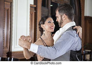 mujer, restaurante, amaestrado, tango, feliz, hombre