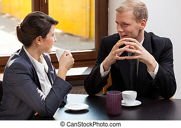 mujer, reunión, hombre