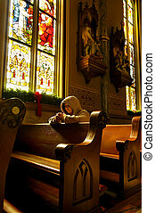 mujer rezar, en, tiempo de navidad