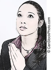mujer rezar, joven, ilustración