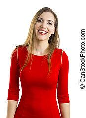 mujer, rojo