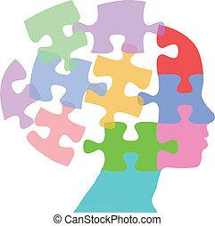 mujer, rompecabezas, mente, pensamiento, caras, problema