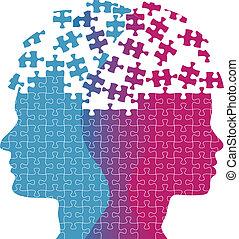 mujer, rompecabezas, mente, pensamiento, caras, problema, ...