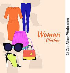 mujer, ropa, conjunto