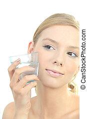 mujer, rubio, cara, cristal del agua, tenencia