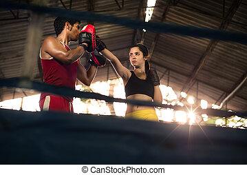 mujer, sí mismo, boxeo, joven, curso, defensa