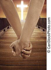 mujer, símbolo, cruz, juntos, mano,  religión, tenencia, hombre