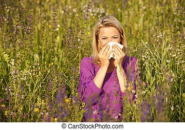 mujer, síntomas, campo, flor, atractivo, alérgico