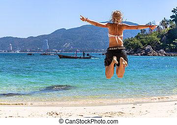 mujer, saltar, feliz