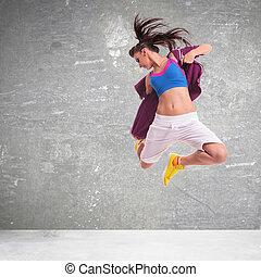 mujer, salto, bailarín, elaboración, estridente, difícil