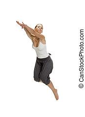 mujer, saltos, en aire