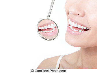 mujer sana, dientes, y, un, dentista, espejo de boca