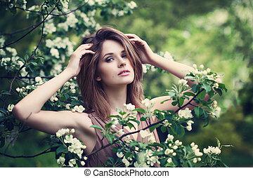 mujer sana, en, spring., belleza, retrato