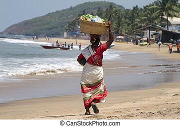 mujer, sari, indio, osos, india, goa, cabeza, fruta, playa.