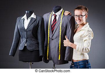 mujer, sastre, ropa, trabajando