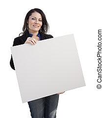 mujer, señal, hispano, tenencia, blanco, blanco