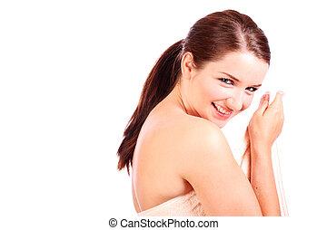 mujer, se esconder atrás, ella, toalla de baño