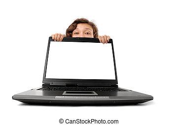 mujer, se esconder atrás, un, computador portatil