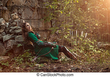 mujer se relajar, cuero, flechas, duende, arco, armadura, ...