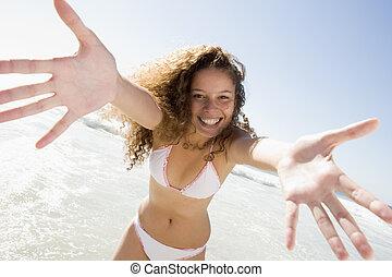 mujer se relajar, en, playa